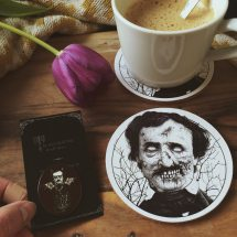 Poe coasters and pin