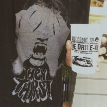 """Shirt based on """"They Thirst"""" by Robert McCammon and the Joe Lansdale stadium cup based on """"The Drive-In"""""""
